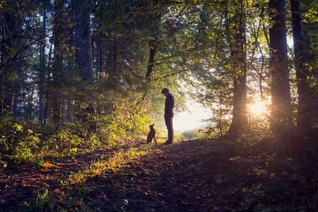 Mens die zijn hond in het bos staan verlicht door de rijzende zon werpt een warme gloed en lange schaduwen.