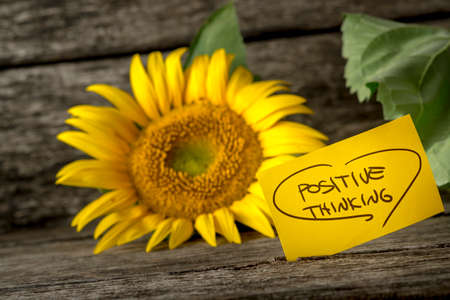 idealism: Positive thinking message next to a beautiful blooming yellow sunflower lying on textured rustic wooden boards.