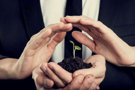 protection hands: Responsibility, protection and teamwork concept - female hands shielding a green sprout growing from a fertile black soil held by male hands. Stock Photo