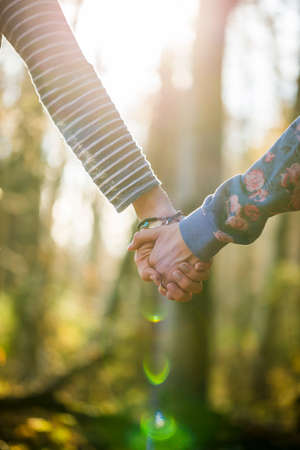 homosexual partners: Closeup of two women holding hands outside in a beautiful forested area with a glowing sunlight. Stock Photo