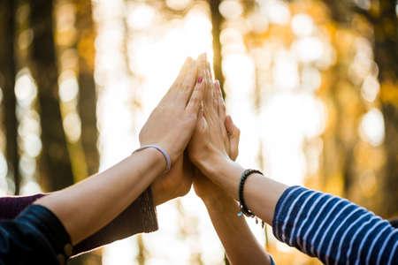 Close-up van vier personen toetreding tot hun handen hoog in de lucht buiten in een bosrijke omgeving.
