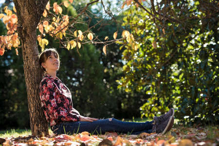 under tree: Young brunette sitting under an autumn tree leaning on its trunk looking up. Stock Photo