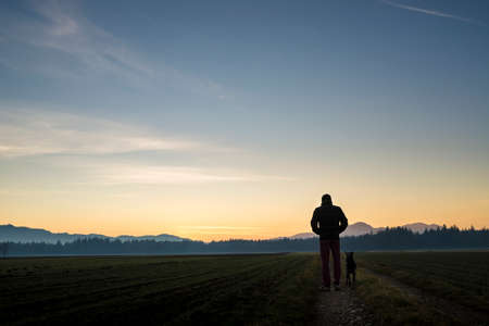 View from behind of a man walking with his black dog at dusk on a country road leading through beautiful landscape of fields with forest in the distance and beautiful evening sky above.