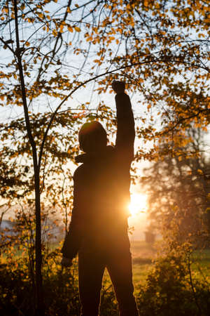 high spirits: Man standing in the woods facing a setting sun with one of his arms lifted up in the air.