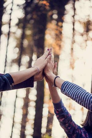 Retro beeld van vier vrouwelijke hand mee hoog in de lucht buiten in het bos. Conceptuele van teamwork en vriendschap.