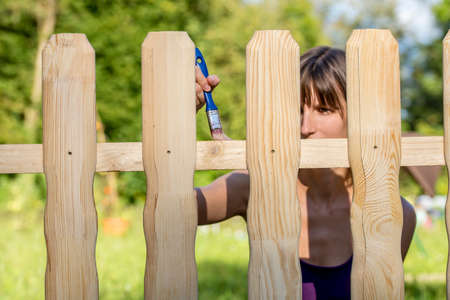 Young woman varnishing a fence with a brush and transparent varnish on a backyard. Stock Photo