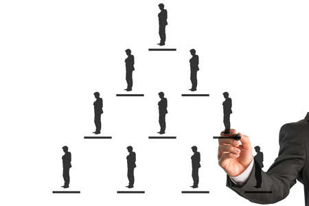 An illustration of pyramidal business hierarchy concept on a white background.