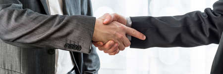 Wide cropped view of two businessmen shaking hands to celebrate a successful agreement.