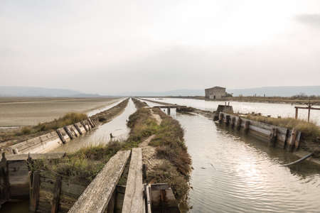 Abandoned old saltpan house at Secovlje Saltpans Natural Park in southwestern Slovenia. Banco de Imagens