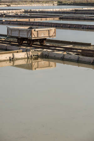 The transport cart in Natural Park Secovlje - Salt Pans in Slovenia, Europe.