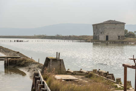 Old saltpan house at Secovlje Saltpans Natural Park in Slovenia. Stock Photo