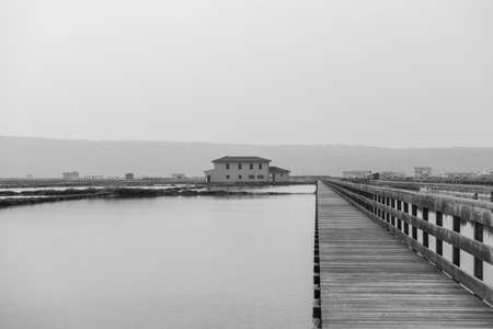 Greyscale image of Secovlje Salt Pans natural and culture heritage in Slovenia.