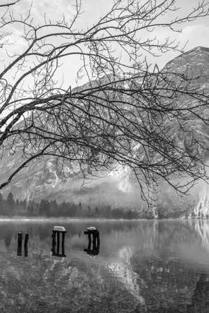 Tranquil winter nature with calm lake water framed with naked tree branches and mountains in background.