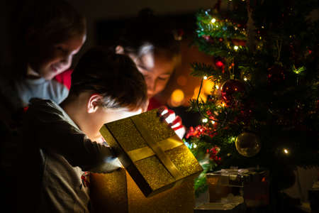 Three kids, two toddler boys and a girl, opening a golden gift box with light coming out of it under a Christmas tree with holiday lights. Stock fotó