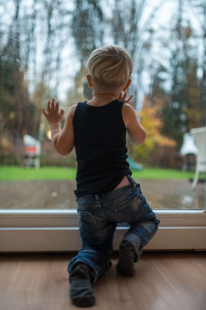 Toddler boy standing next to a window looking out to observe nature.