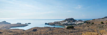 Lindos and beautiful sea on the island of Rhodes, Greece. Stok Fotoğraf