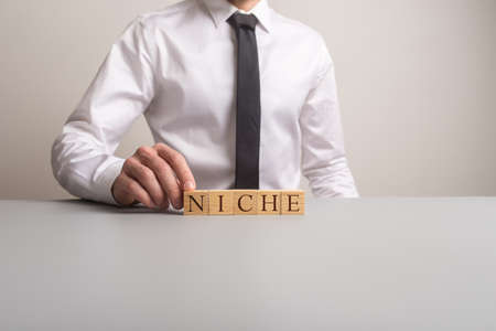 Businessman sitting at his office desk assembling a word NICHE with wooden cubes in a conceptual image. With copy space. Banque d'images - 119094015