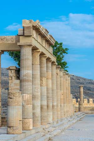 Beautiful ancient pillars of the acropolis of Lindos, Greece.
