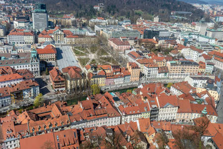 View from the above of a city of Ljubljana. Slovenia with famous Star square and river Ljubljanica.