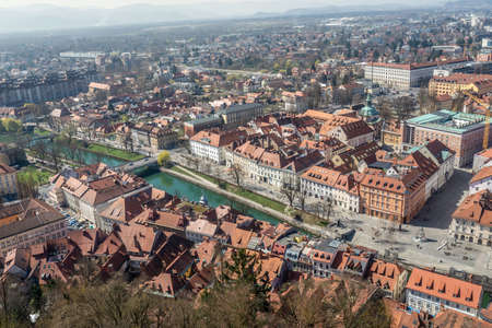 View from the above of beautiful Ljubljana, capital city of Slovenia. Imagens