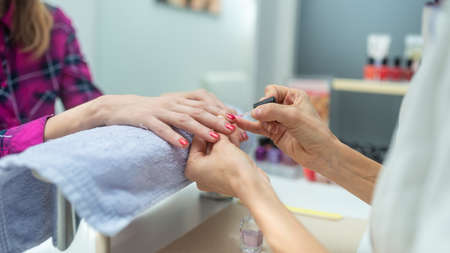 Woman pampering herself with a manicure treatment as manicurist applies shiny red polish on her shaped nails. Banco de Imagens