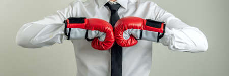 Wide view image of businessman wearing boxing gloves bumping his fists together in a conceptual image of business power and determination.