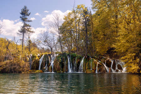 Waterfall and lake of national park of Plitvicka lakes in Croatia.