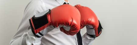 Wide view image of businessman wearing red boxing gloves bumping his fists together. Archivio Fotografico - 126277774