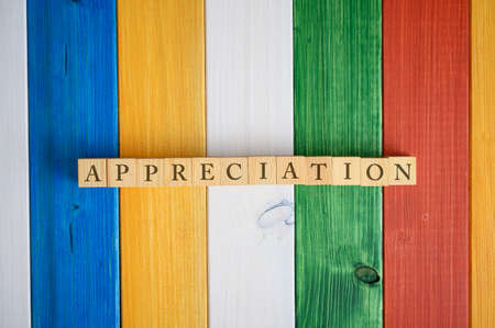 Top view of the word Appreciation spelled on wooden cubes with a background of colorful wooden planks.