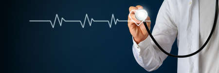 Cardiogram linked to a heart shape on navy blue background with a doctor holding stethoscope next to it.