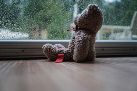 Teddy bear toy sitting at a window looking out on a rainy day.
