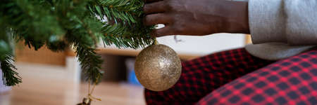 Wide view image a colored girl hanging shiny golden holiday bauble on christmas tree. Imagens