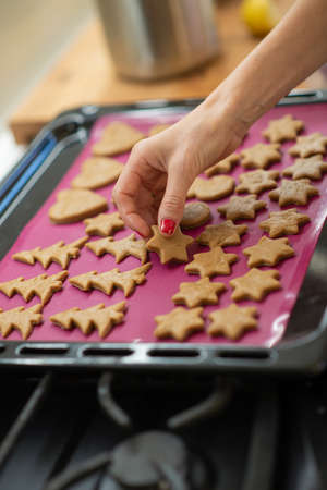 Low angle view of a woman placing holiday shaped cookies on a baking tray. Imagens