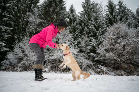 Cheerful young woman training her cute small dog outside in a snow covered winter nature.