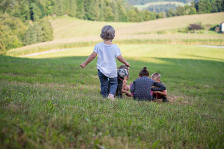 Children playing in a beautiful green meadow on a sunny day with their dog beside them.