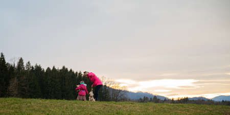 Young mother and her toddler daughter playing with their small puppy outside in beautiful meadow at sunset.