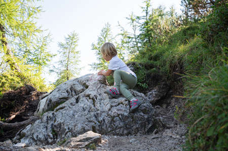 Toddler child climbing the rock on a hiking trail in beautiful green nature.