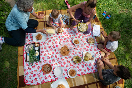 Top view of a family having a picnic in nature sitting on a blanket full of delicious food and snacks.