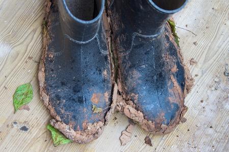 雨の日の庭仕事の後汚れたゴム長靴。平面図です。
