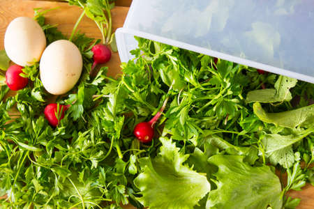 Fresh herbs and radishes in a container and about. Parsley, lettuce, radish and eggs for salad. Wooden background. Top view.