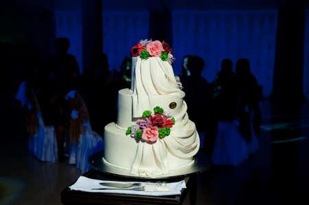 noble: beautiful and noble wedding cake with cream Stock Photo