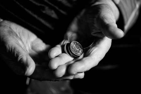 counting money: Hands of an old man counting money