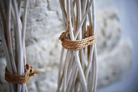 natural rope: Wooden rods connected by a natural rope