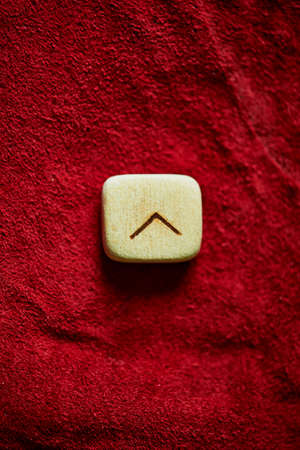 rune: Rune on a background of red rough suede mint