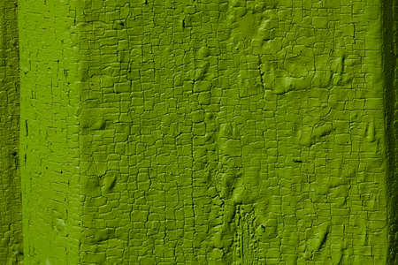 flaky: green flaky paint on a wooden fence. Stock Photo