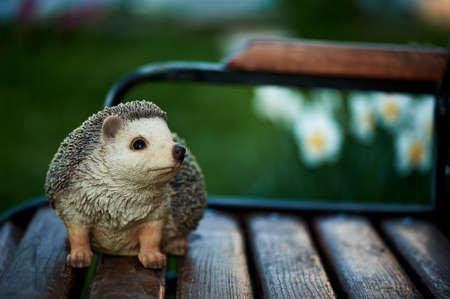 naturalistic: naturalistic statuette of a hedgehog standing on garden bench
