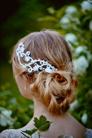 restraint: Beautiful hair on her head blonde, hair clip lace handmade