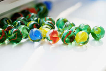 Bright glass multicolored glass stones round. Macro Stock Photo