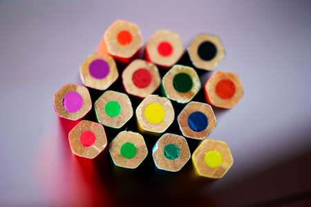Colored pencils , sharpened, tightly gathered Macro blur Stock Photo