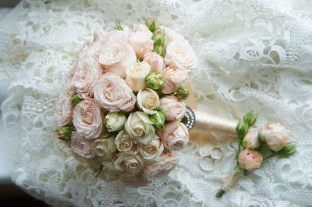 Wedding bouquet classic round shape of peony roses. Wedding floristry